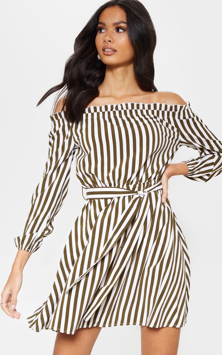 Khaki Stripe Satin Tie Bardot Dress  4