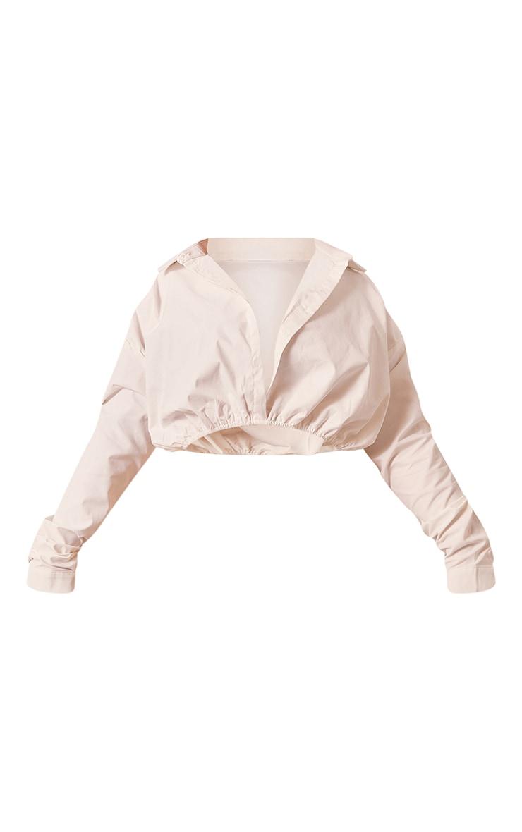 Plus White Ruched Hem Crop Shirt 5