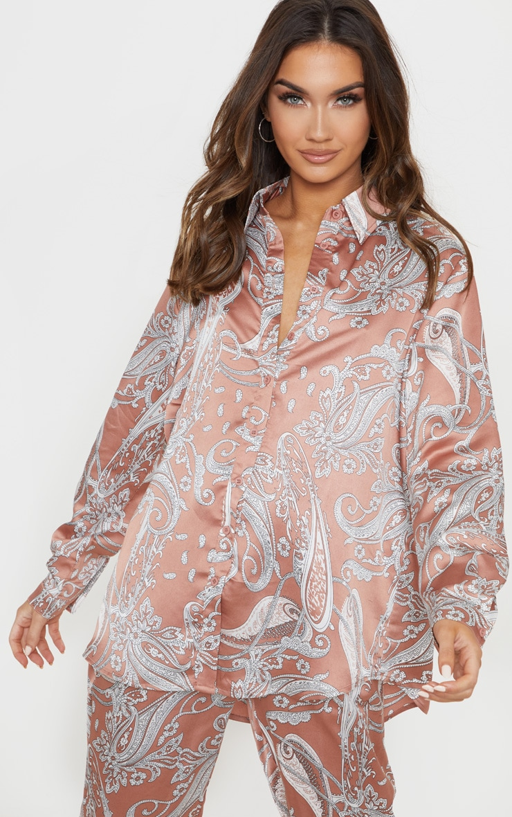 Peach Satin Paisley Printed Oversized Shirt image 4