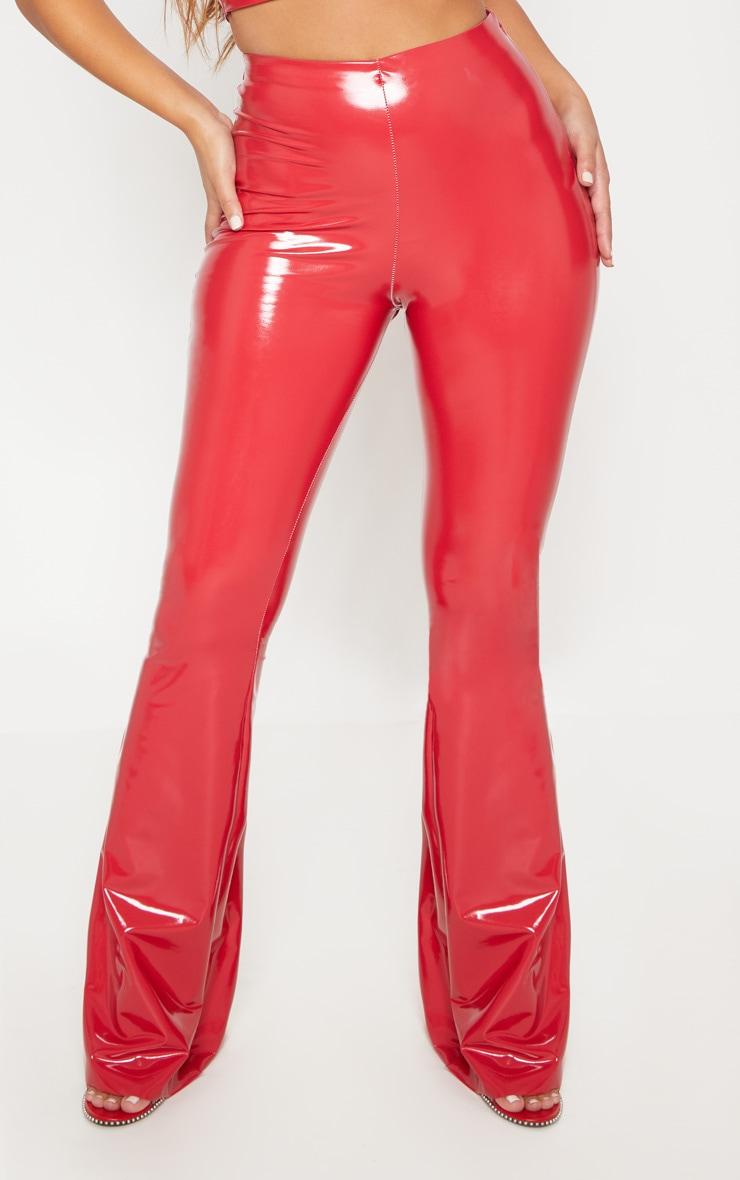 Red Vinyl High Waisted Flare Leg Trouser 2