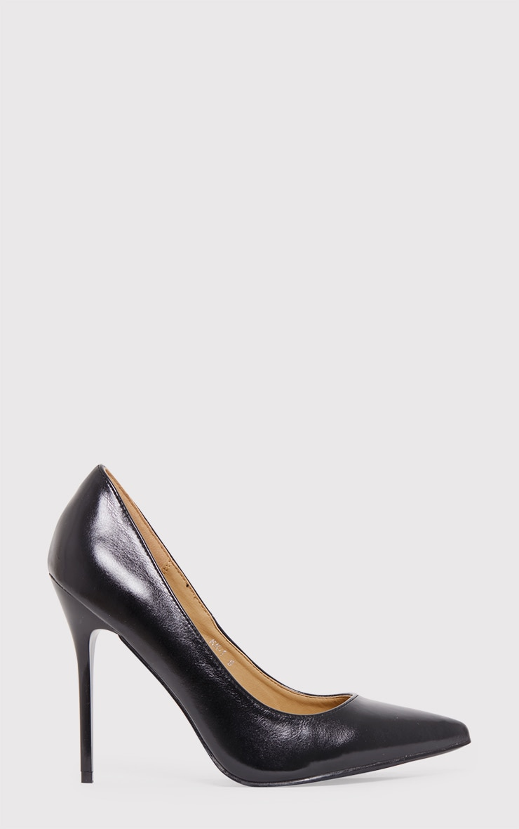 Julieta Black PU Stiletto Court Shoe 2
