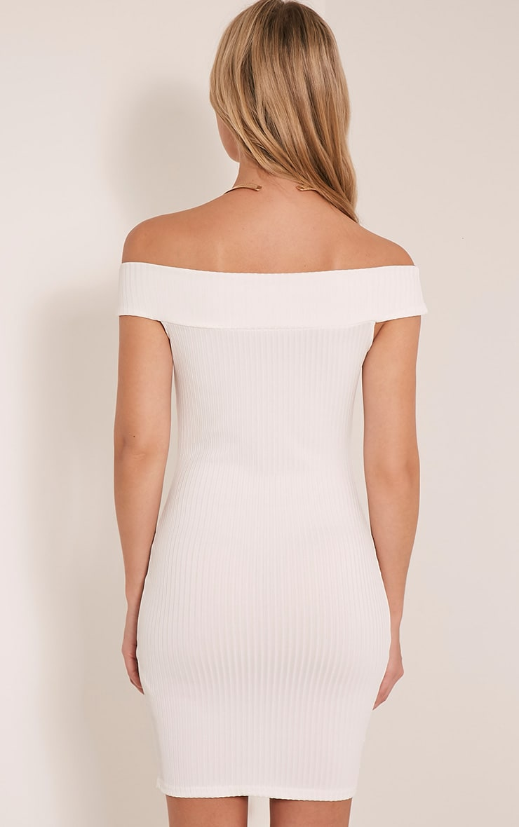 Rylah White Bardot Ribbed Bodycon Dress 2