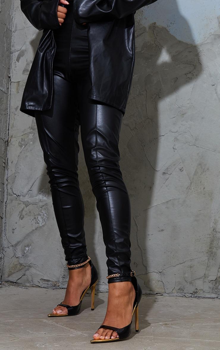Black PU Pointed Chain Detail High Heels 2