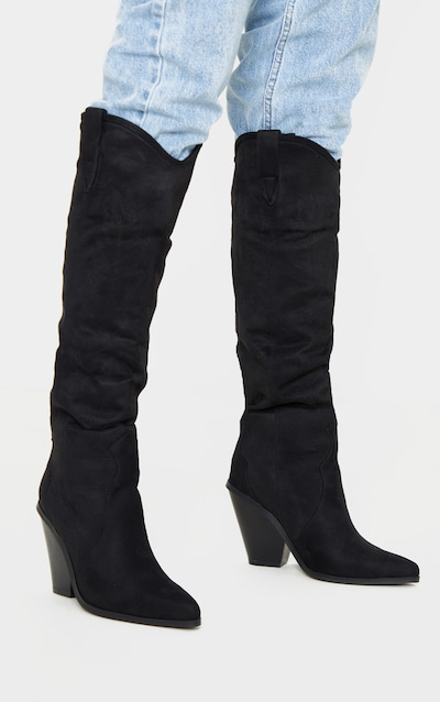 Black Heeled Knee High Western Boot