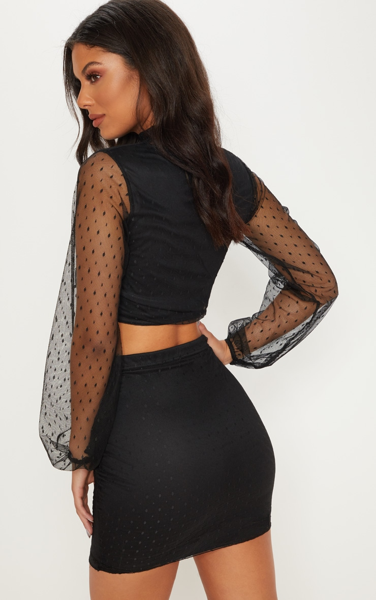 Black Dobby Mesh High Neck Ruched Crop Top 2