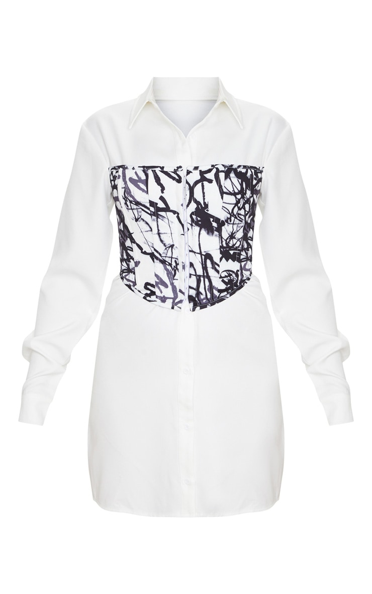 White Graffiti Print Hook & Eye Corset Bust Shirt Dress 3