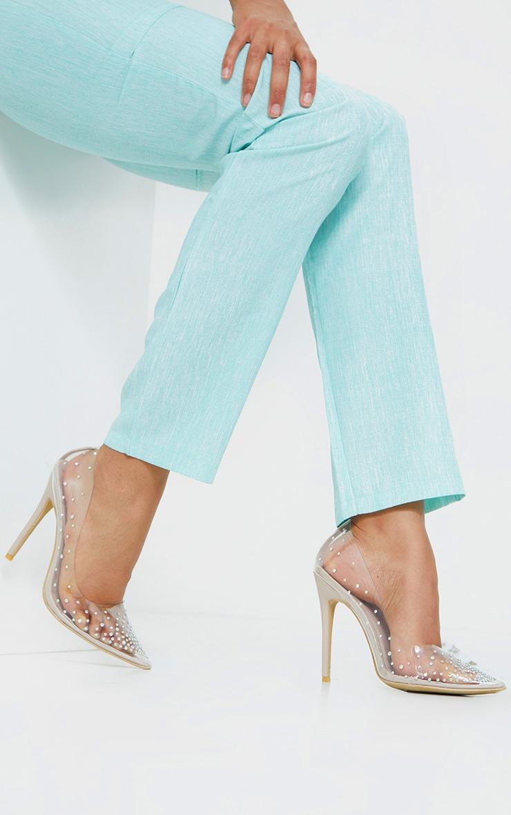 Clear Diamante Court Shoes 2