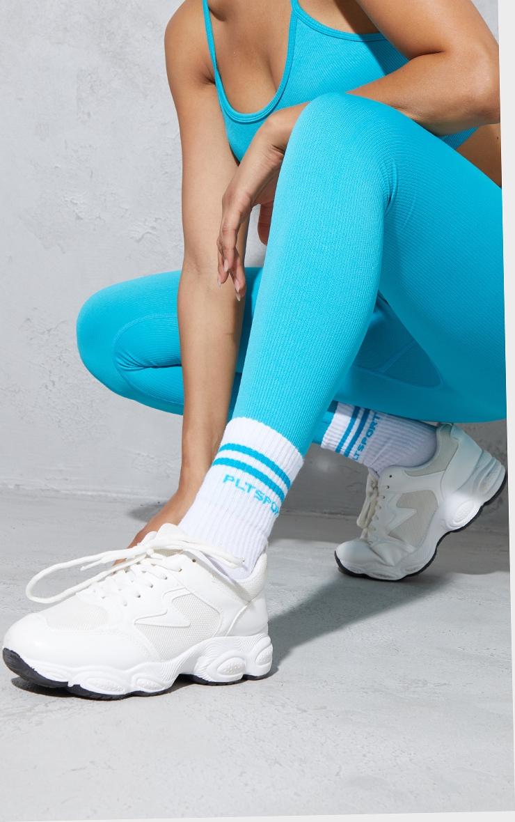 PRETTYLITTLETHING Aqua 2 Pack Sport Socks 1