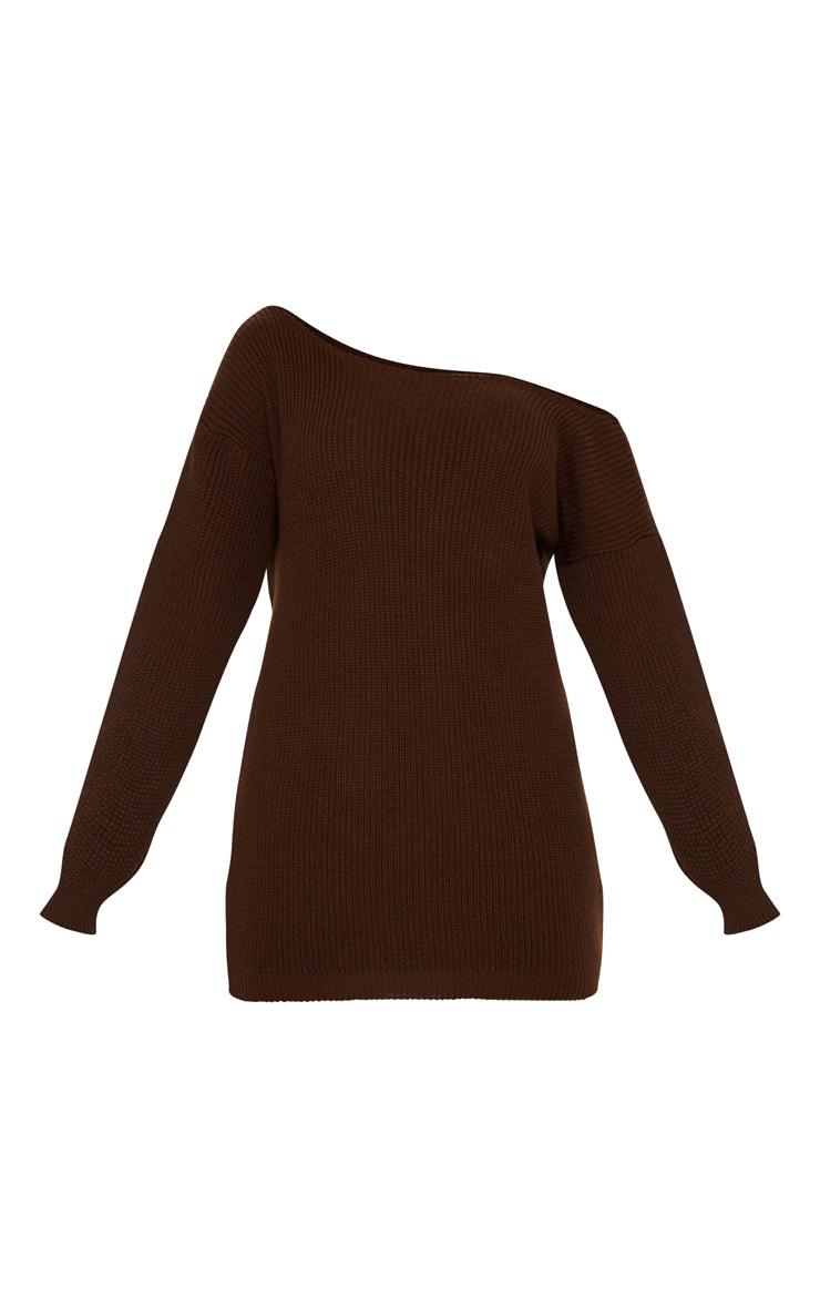 Chocolate Off The Shoulder Jumper Dress 3