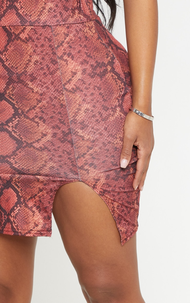 Shape Red Snake Print Split Detail Skirt 6