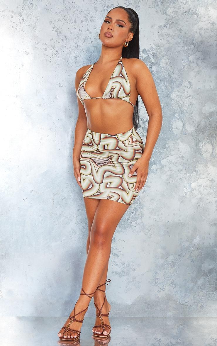 Green Swirl Print Slinky Ruched Side Mini Skirt 1