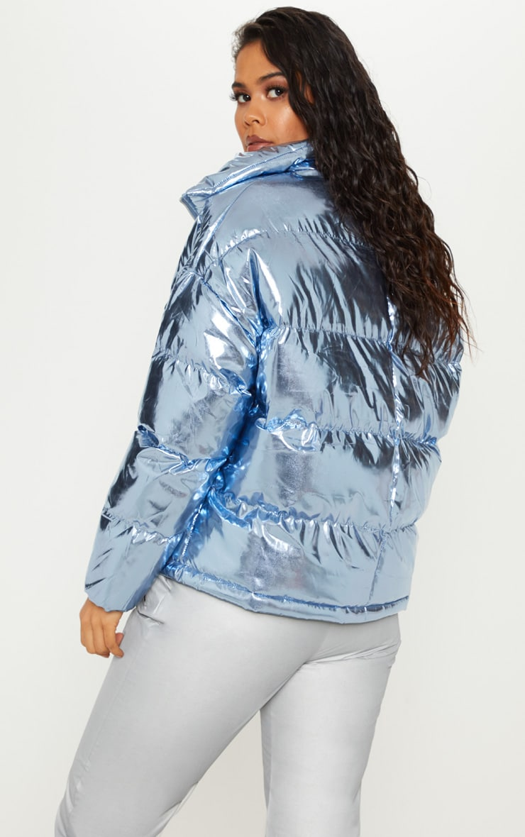 Blue Metallic Puffer  2