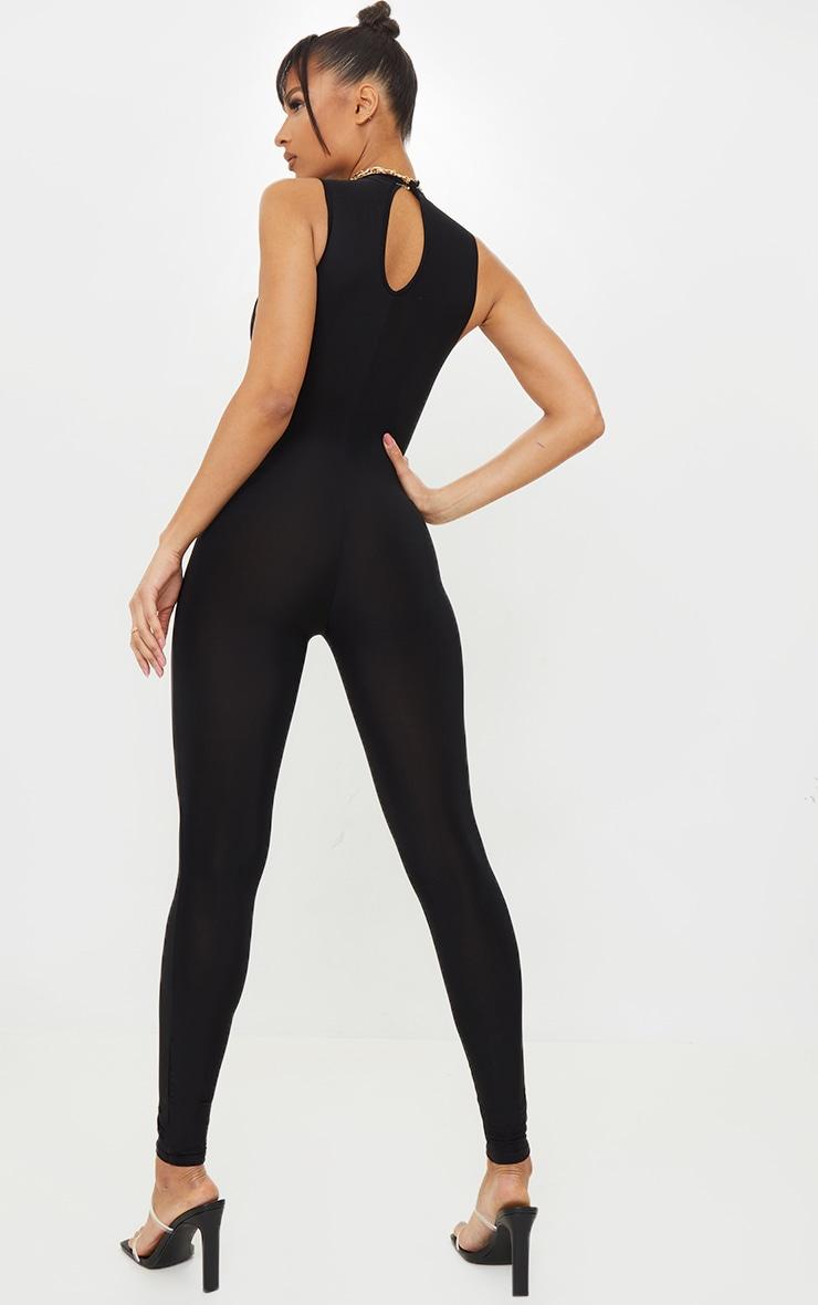 Black High Neck Sleeveless Jumpsuit 2
