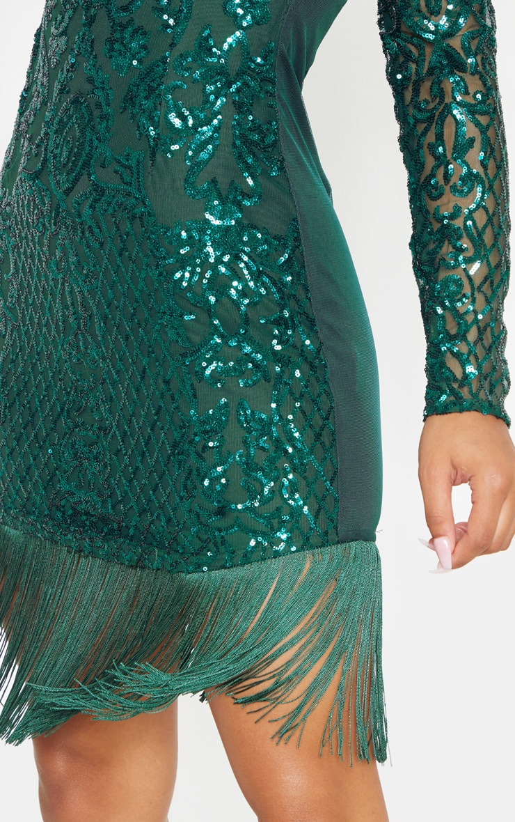 Emerald Green Sequin Long Sleeve Tassel Hem Bodycon Dress 5