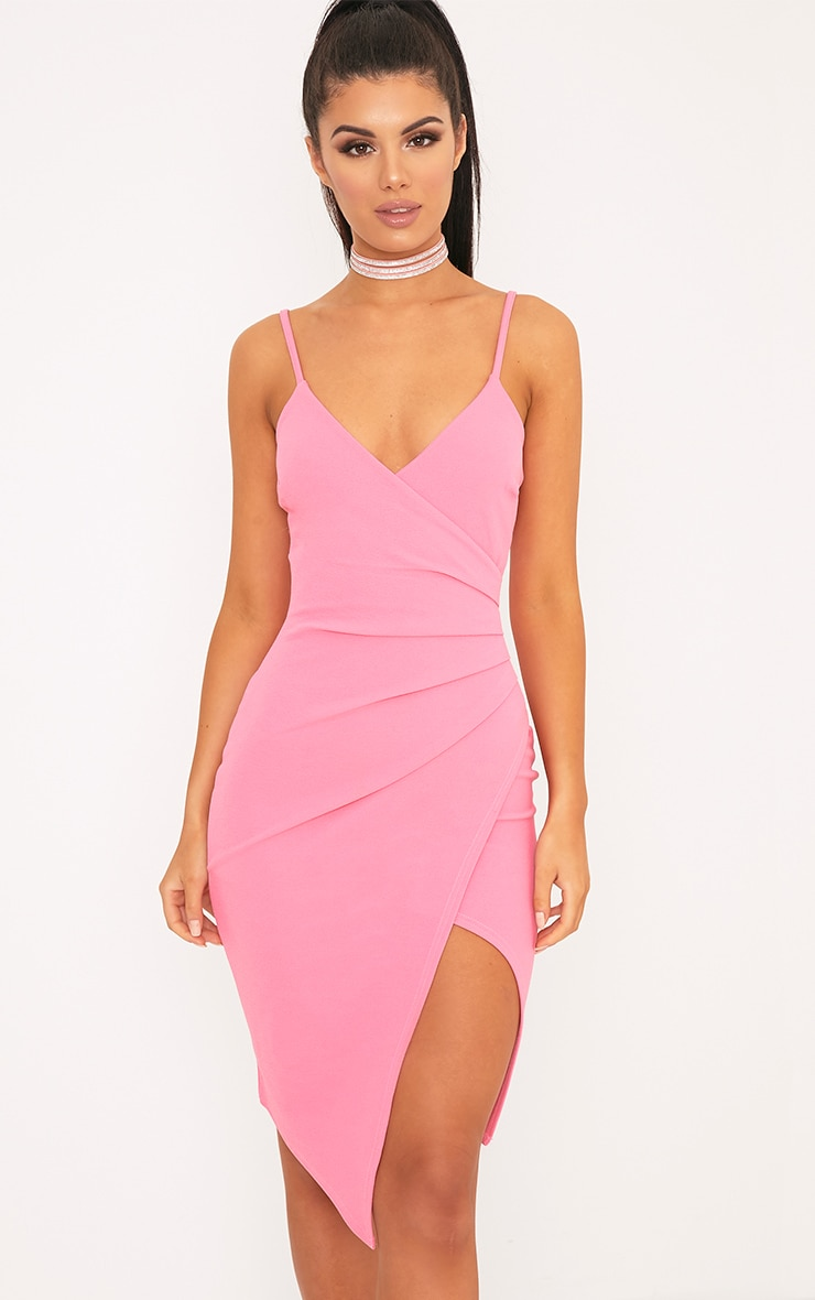 Lauriell Hot Pink Wrap Front Crepe Midi Dress 1