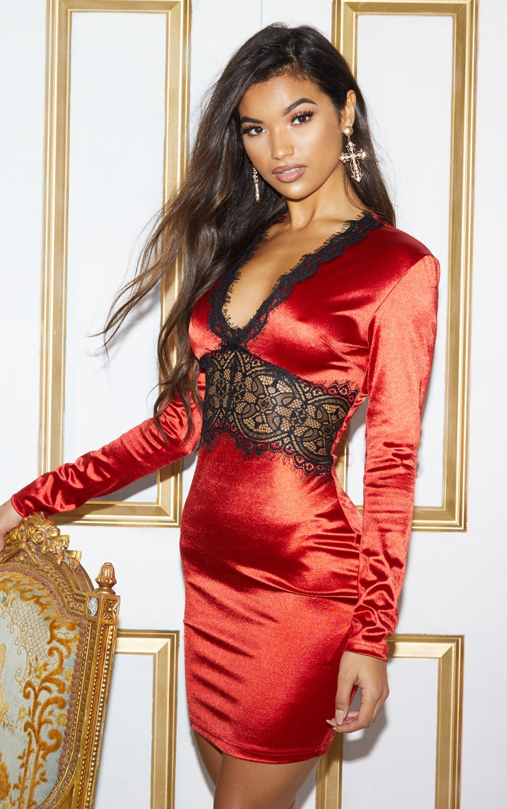RED SATIN LACE PANEL BODYCON DRESS