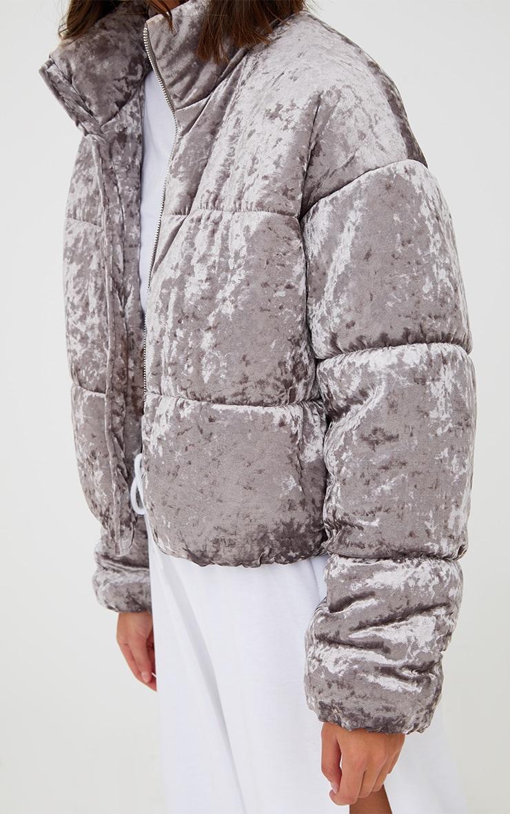 Grey Velvet Cropped Puffer Coat 5