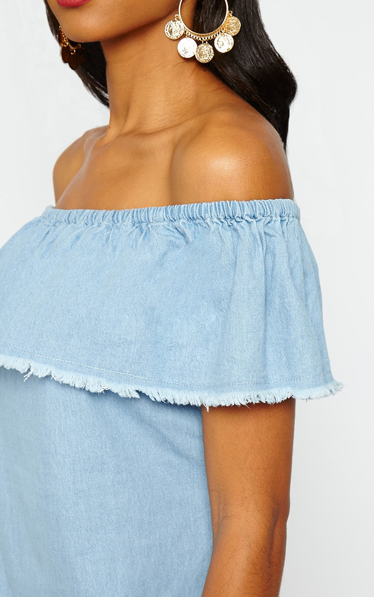 Eunice Blue Denim Bardot Dress 5