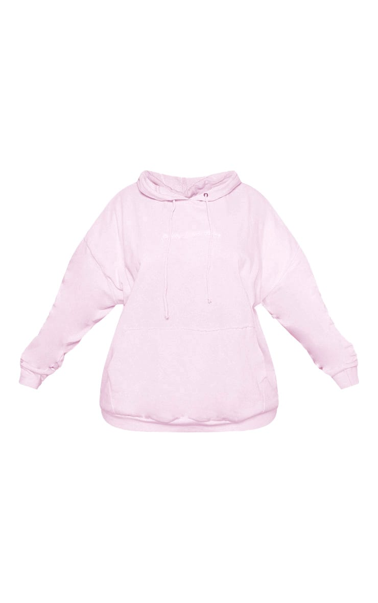 PRETTYLITTLETHING Plus Light Pink Embroidered Oversized Hoodie 4