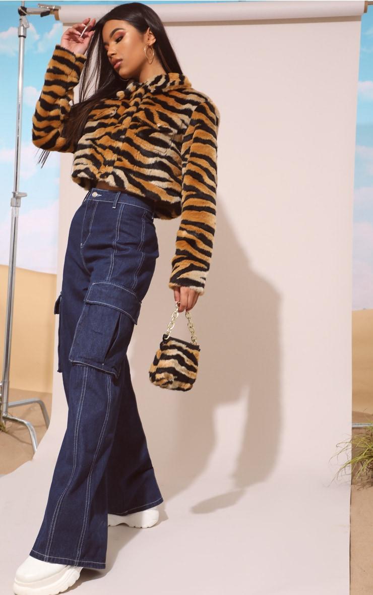 Tiger Print Faux Fur Crop Jacket 5