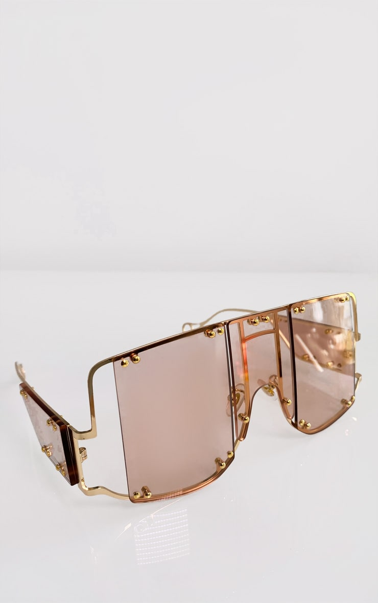 Rose Gold Oversized Cut Out Sunglasses 2