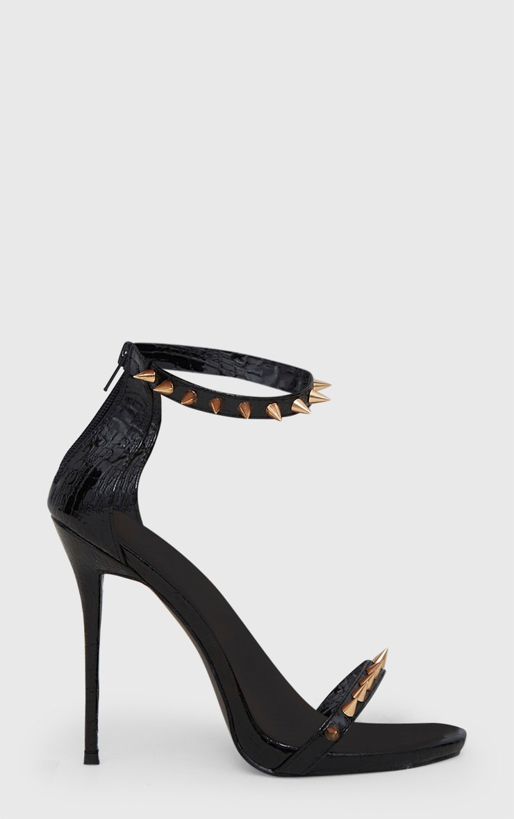 Black Stud Detail Strappy Stiletto Heels 3