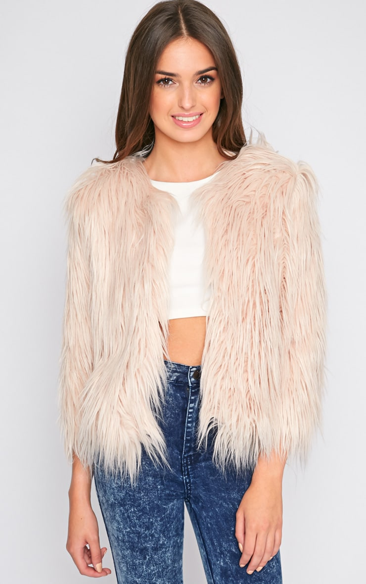 Lily Nude Faux Fur Jacket  1