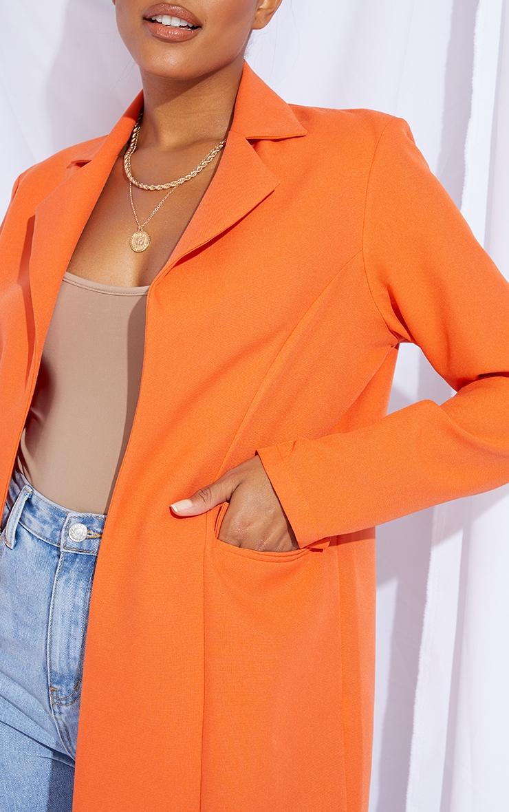 Orange Woven Fitted Longline Blazer 4