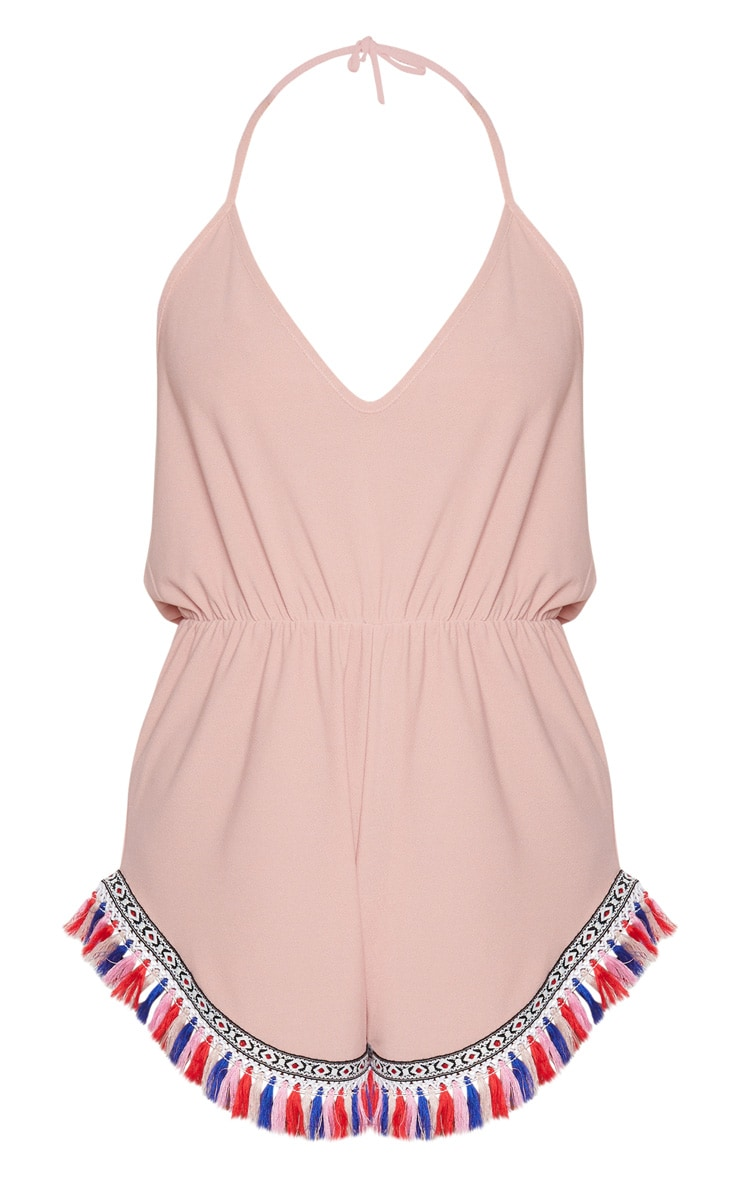 Pink Halter Neck Tassel Trim Playsuit 3