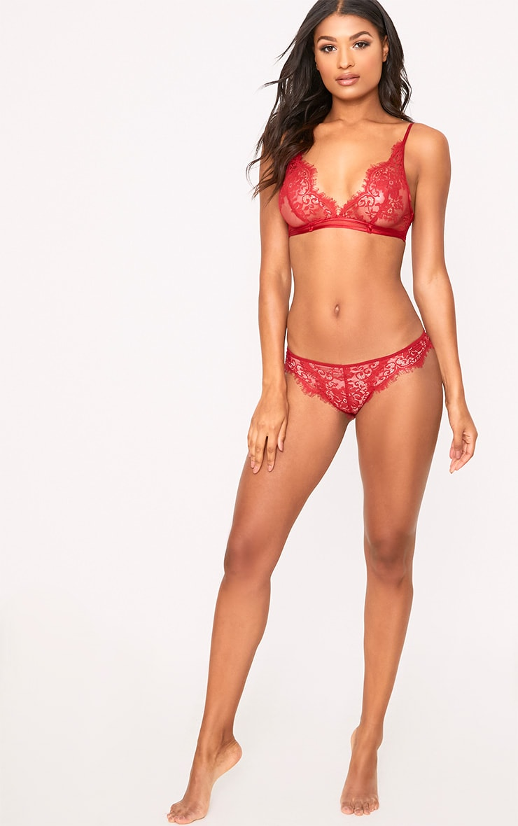 Wendy Red Sheer Lace Brazilian  5
