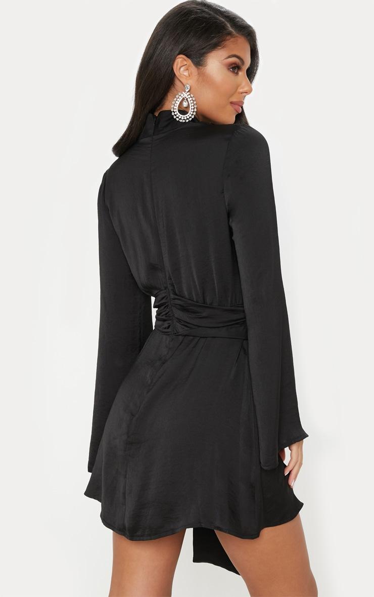 Black Hammered Satin High Neck Drape Bodycon Dress 2