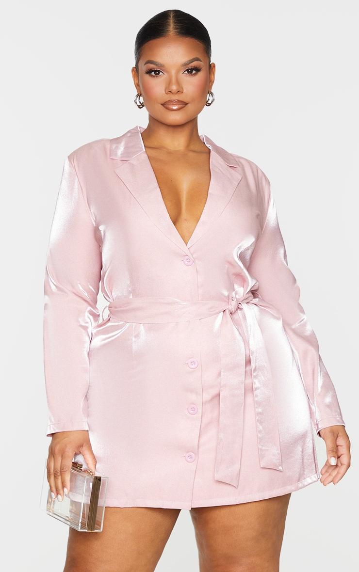 Plus Blush Shimmer Satin Tie Waist Blazer Dress 4