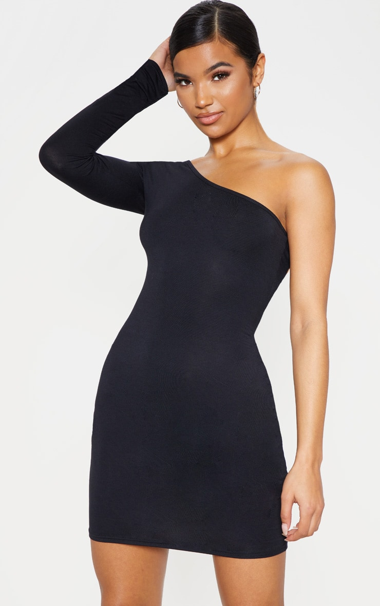 Black One Shoulder Long Sleeve Bodycon Dress  1
