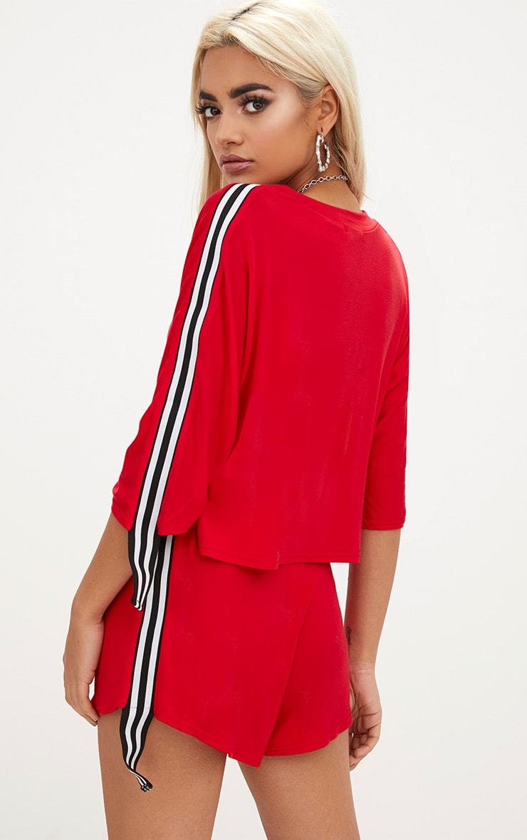Red Stripe Tape Trim Crop T Shirt 2