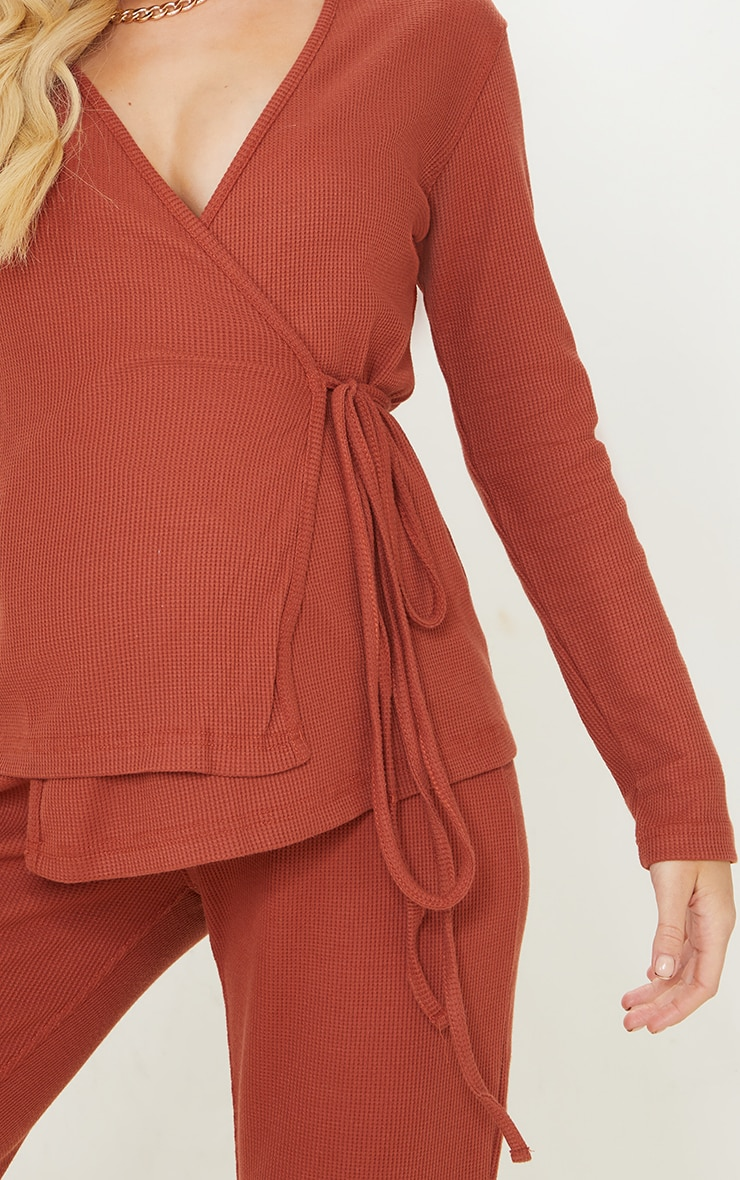 Maternity Rust Waffle Wrap Over Top 4