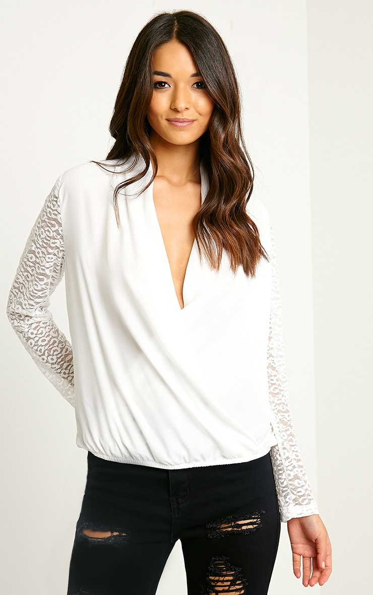 Carlene White Lace Sleeve Wrap Top 4