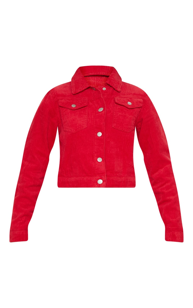 Red Jumbo Cord Cropped Jacket 3