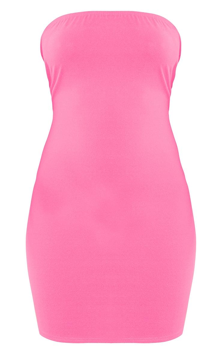 Neon Pink Crepe Bandeau Bodycon Dress 3