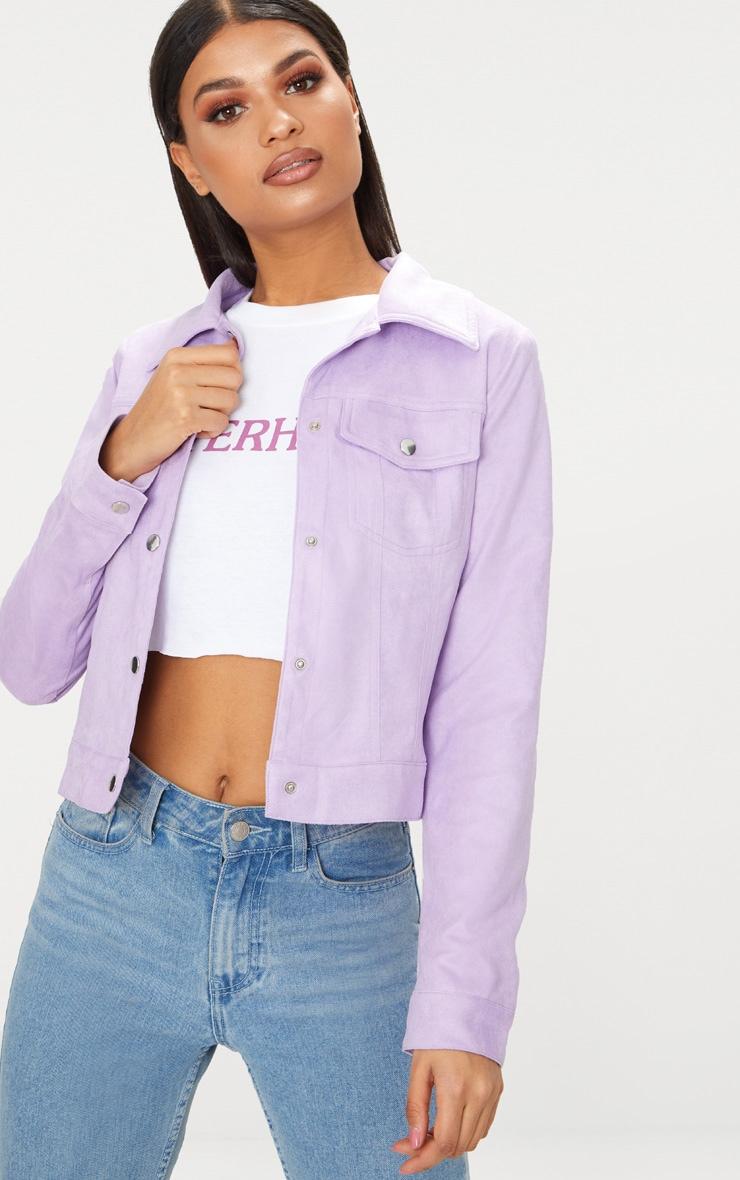 Lilac Faux Suede Trucker Jacket 1