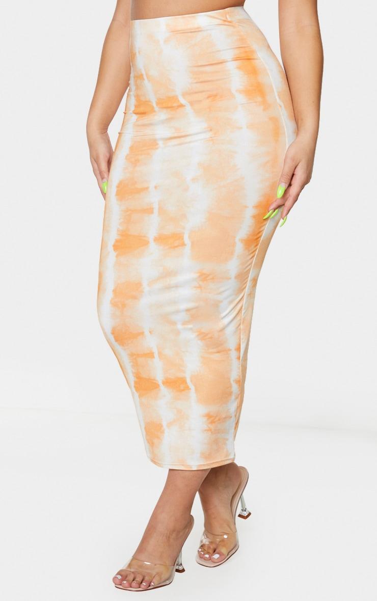 Orange Tie Dye Print Second Skin Slinky Longline Midi Skirt 2