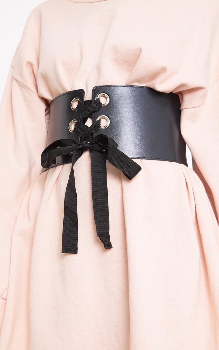 Emily Black Lace Up Corset Belt 1