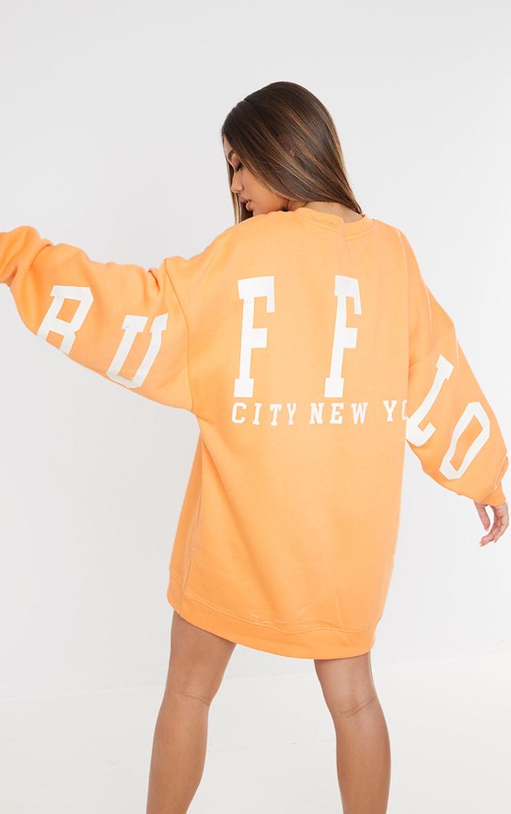 Tangerine Buffalo New York Graphic Sweatshirt Dress 1