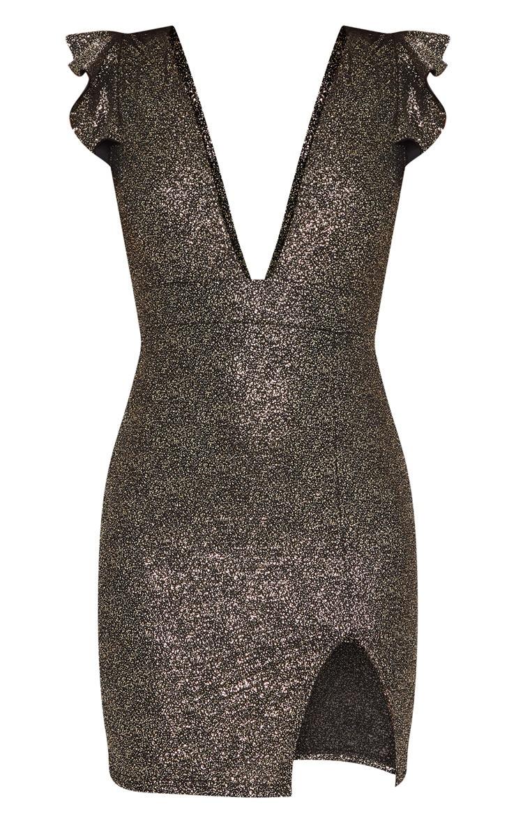 Gold Textured Glitter Plunge Frill Bodycon Dress 3