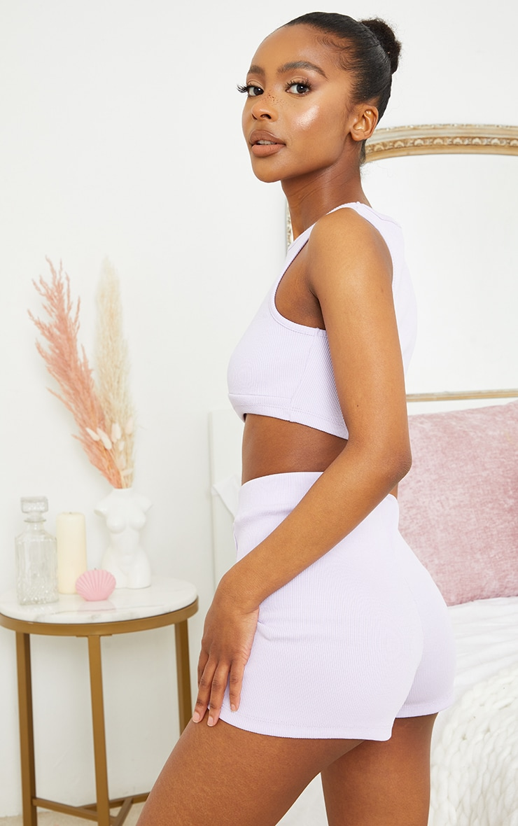 Petite Lilac Ribbed Racer Crop Top and Shorts Set 2