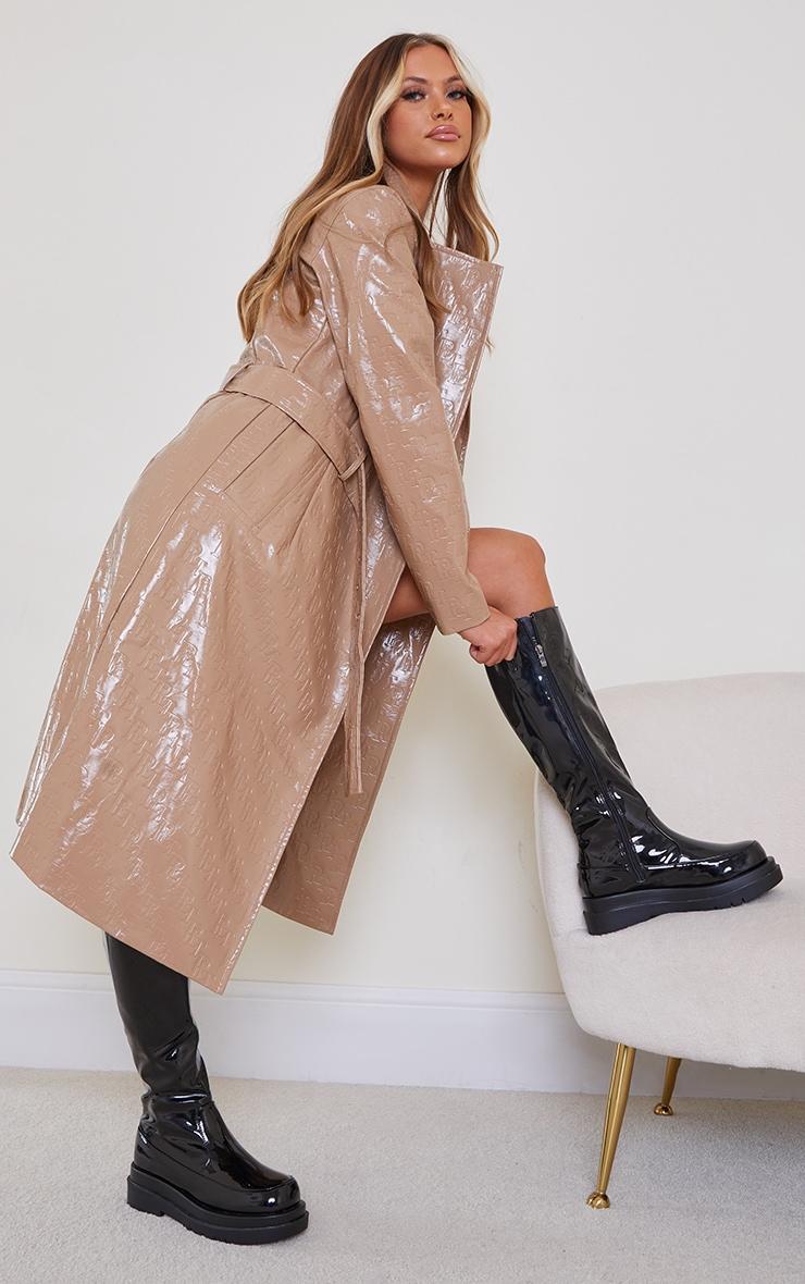 Black Pu Patent Calf High Chunky Sole Boots 1