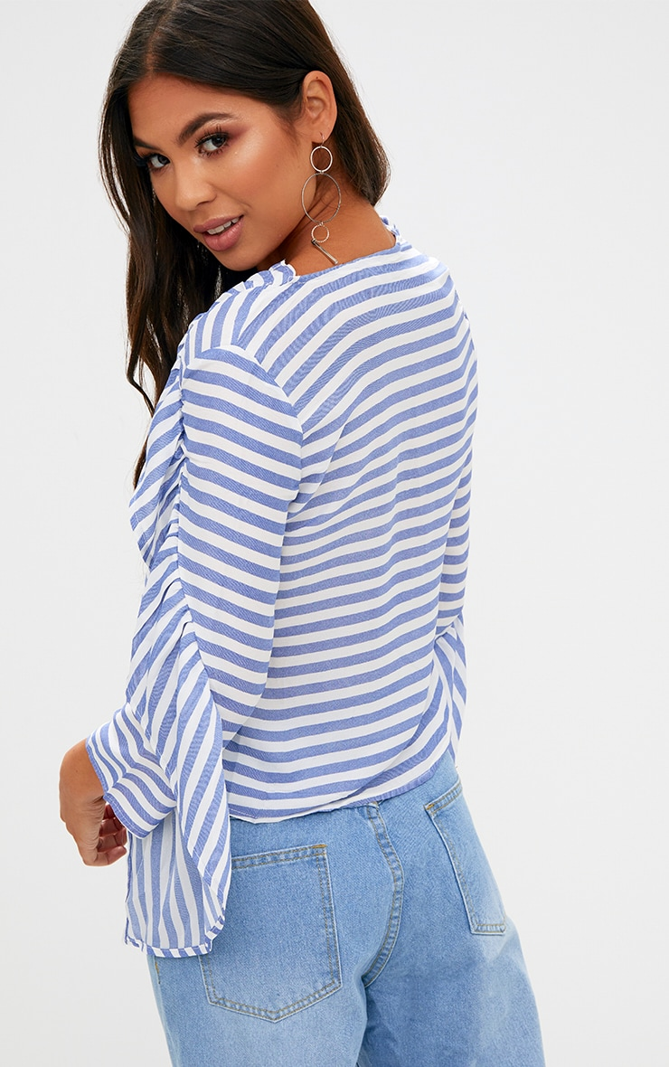 Blue Stripe Frill Sleeve V Neck Blouse 2