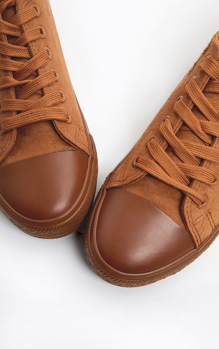 Camel Faux Suede Lace Up Sneakers 4