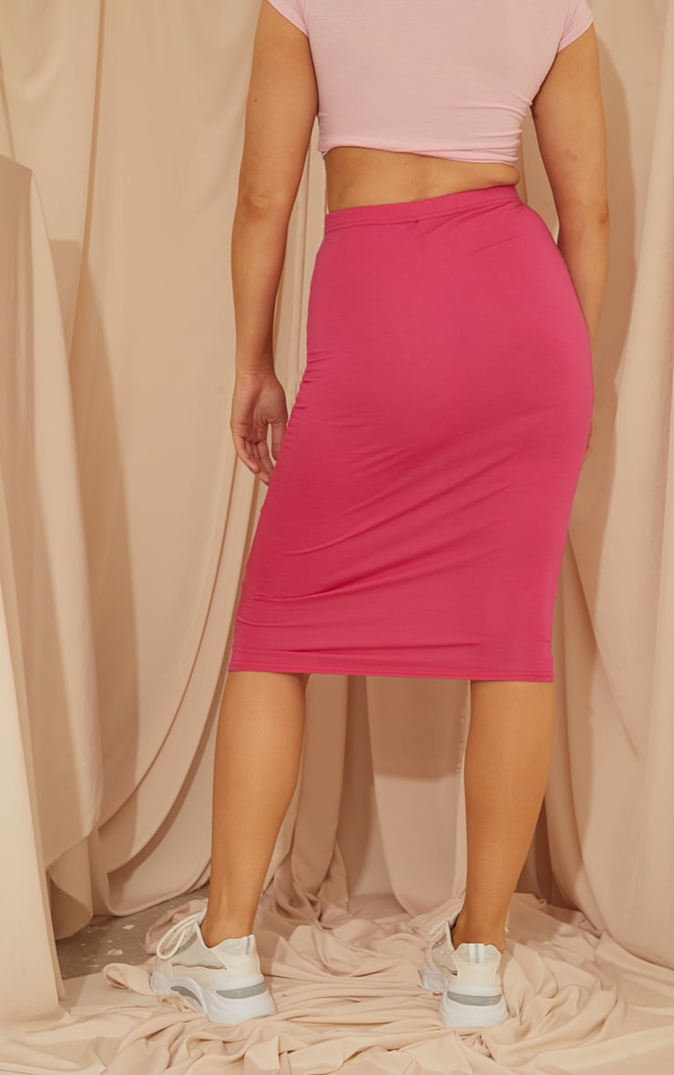 Hot Pink Basic Midi Skirt 3