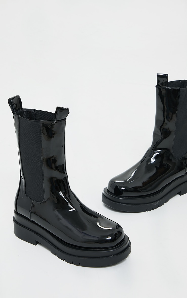 Black Pu Patent Chunky Sole Chelsea Boots 4