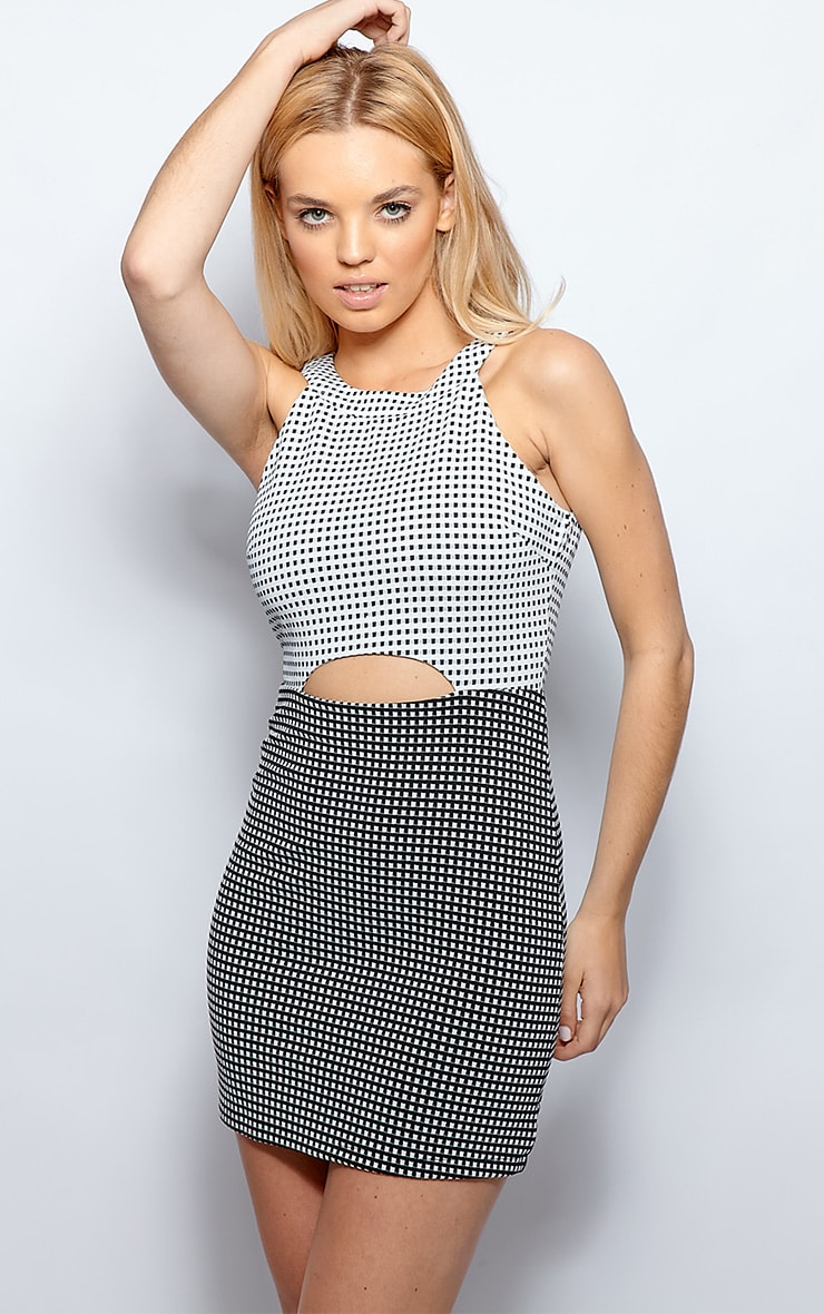 Jen Monochrome Check Cut Out Dress 5